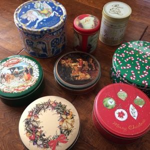 lot of 8 empty christmas holiday tins,